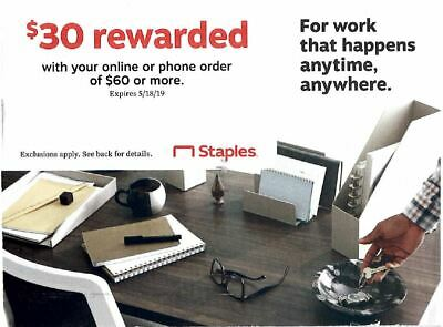 Staples Coupon $30 off $60 online exp 5/18/19