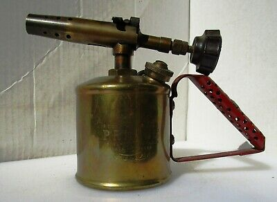 Small Vintage Red Handle Brass Blow Torch from PRIMUS
