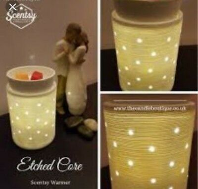 Scentsy Warmer - Etched Core NEW in box plus lead full size