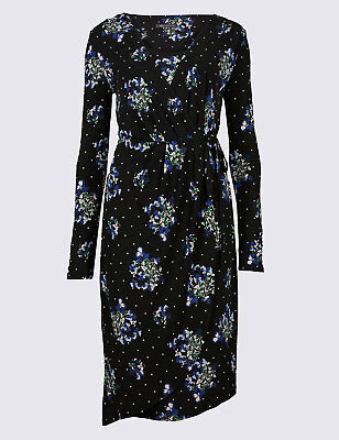 92d38714469 M&S COLLECTION FLORAL Print Asymmetric Wrap Midi Dress SLIM FIT ...
