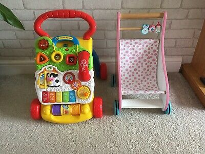 Vtech first steps baby walker and Wooden Push Chair