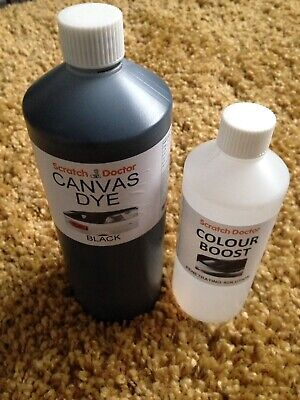b3a519377840 BLACK CONVERTIBLE ROOF Canvas Dye   Soft Top Reviver Restorer Colour ...