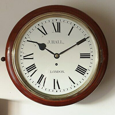 "Victorian Mahogany Fusee wall clock with 11"" dial, by J.Hall - London C1890"