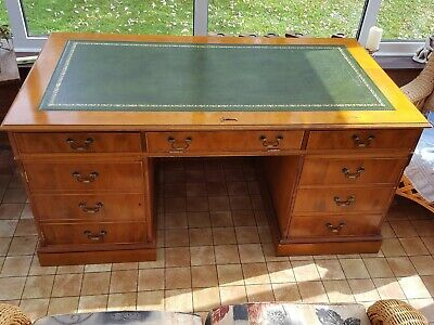 Large Antique Style Offfice/ Study Pedestal Desk In Yew-delivery Poss!