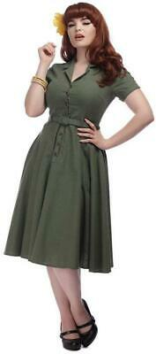Collectif Caterina 40s Olive Green Shirtwaister Swing Dress