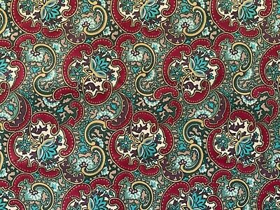 Laura Ashley Good Quality Cotton Upholstery fabric in red, turquoise and Green.