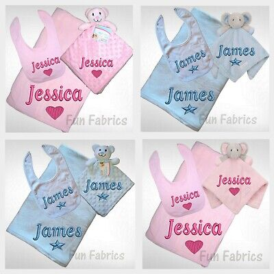 Personalised New Baby Fleece Blanket Comforter & Bib Boy Girl Gift Set Pink Blue