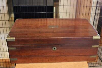 An Antique Mahogany Campaign Writing Slope With Inset Brass Corners & Strapping