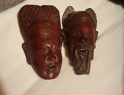 Two Vintage Asian Hand Carved Wood Mask Happy Face, Mini Statues/Mask, about 4""