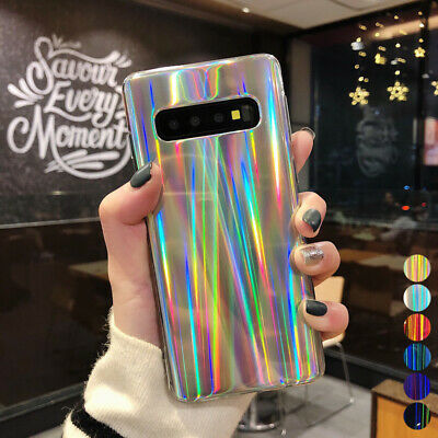 IMD Laser Glossy Rubber Soft Case Cvoer For Samsung Galaxy S10 Plus A9 A7 2018