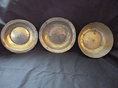 lot antique vintage copper plates bowls 3pcs old plates bowls