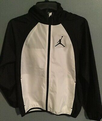 3a862df6cc2b Air Jordan Nike Boys Kids Youth Windbreaker Black White Jacket Hoodie  Packable