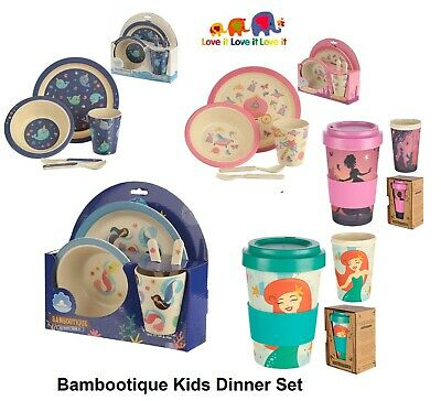 Bambootique Kids Dinner Set, Place Setting Eco Friendly Bamboo Fibre No Plastic