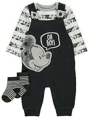 BNWT Baby Boys 3pc Disney Mickey Mouse Dungarees /T Shirt Bodysuit /Socks Outfit