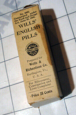 antique 1906 WILLS ENGLISH PILLS quack Wells Richardson Burlington VT * BOX ONLY