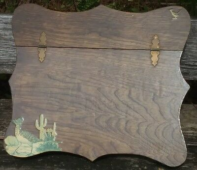 VTG Handmade Wood Writing Slope Lap Desk Stationary Box Road Runner Decoupage NM