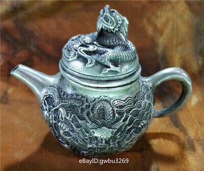 Chinese Tibetan silver Teapot  Hand Carved Dragon Playing beads  w Xuande Mark