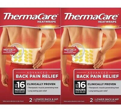 2x ThermaCare Lower Back Heat Wrap 2 pack = 4 wraps (Heat therapy, muscle pain)