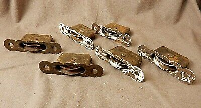 Six Antique Vintage WINDOW Sash WEIGHT ROLLER PULLEYS ~ Pressed Steel