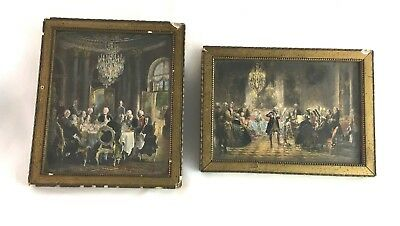 Antique prints by Adolph Von Menzel pair Miniatures