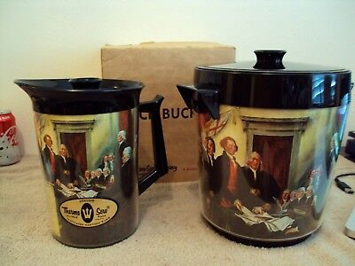 Vintage Unused Set Of Early History Thermo-Serv Ice Bucket & Pitcher