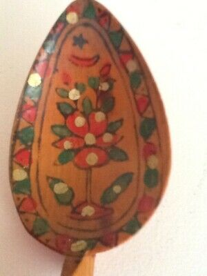 Antique Ottoman Turkish Islamic Hand Carved Hand Painted Wooden Spoon
