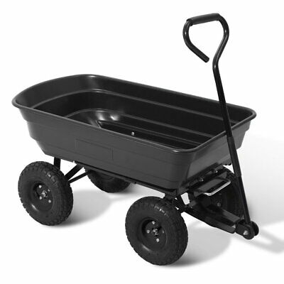 Gardeon Garden Cart 270kg 75L Trolley Wagon 85 degrees Tipping Bed Wheelbarrow