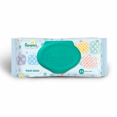 Pampers Fresh Clean Baby Wipes cleaning for your baby's delicate skin (64 Count)