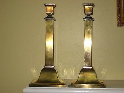ARTS & CRAFTS MISSION BRADLEY & HUBBARD #152 CANDLESTICKS Brass 11""