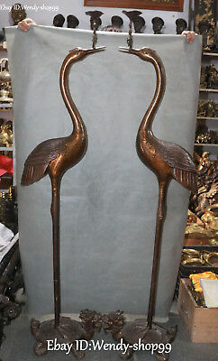 "61"" Pure Bronze Crane Bird Dragon tortoise Turtle Candle Holder Candlestick Pair"