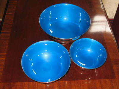 3 REED & BARTON PAUL REVERE BOWLS SILVER PLATED with BLUE ENAMELED INTERIORS