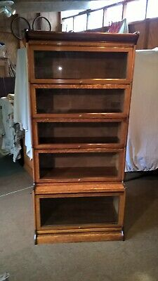 Attractive Large Vintage Oak 'Gunn' Sectional Stacking Glazed Bookcase Cabinet