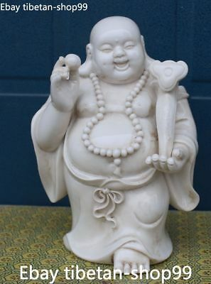 Chinese Dehua Porcelain Happy Laugh Maitreya Smile Buddha Bead Ru Yi Ruyi Statue