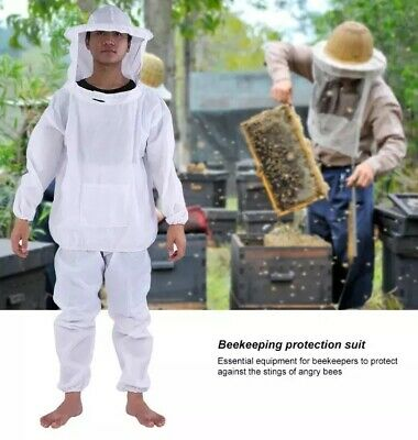 Large Bee Keeping Full Body Protective Suit Jacket Pants Hood Veil Hat Complete