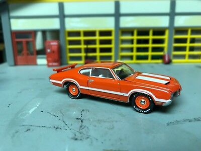 1/64 1970 OLDS Cutlass W31 Htp in Hugger Orange/White Int/OAI  Hood/Firestones