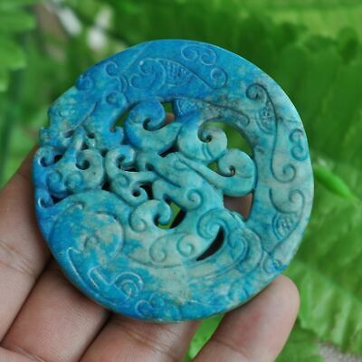 Chinese ancient old hard jade hand-carved pendant necklace ~dragon and phoe  M19