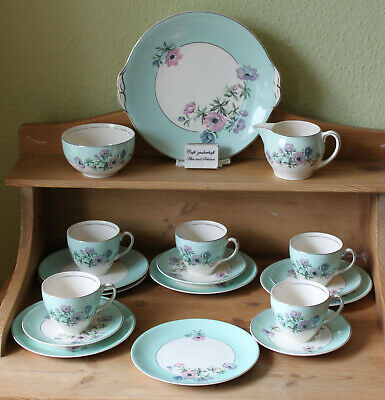 Tee- Kaffee-Service-Geschirr Art Deco ca.1940 Johnson Bros China Anemone England