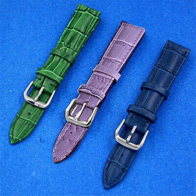 12mm 14mm 16mm 18mm 20mm 22mm Blue Green Purple Genuine Leather Watch Band Strap