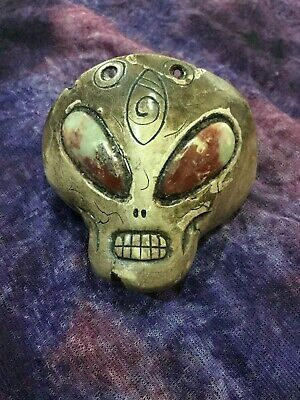 Ancient Pre-Columbian Ojuelos de Jalisco Alien Pendan with Jasper incrustations