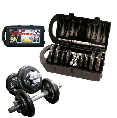 Barbell 40 Pound Weight Dumbbell Set With Case Gym Workout Fitness Adjustable...