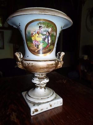 Vintage French Porcelain Urn Vase Romantic Scene