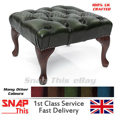 Chesterfield Deep Buttoned Queen Anne Footstool 100% Antique Chair Sofa Leather
