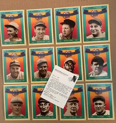 1992 Baseball Hall of Fame Heroes 1st Edition Stamp Card Set ST Vincents NM/M