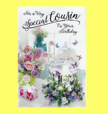Cousin Birthday Card Simon Elvin Traditional Floral Flowers Female Ladies Women