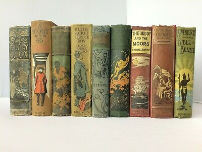 Job Lot 9 Antique Vintage Books Display Shabby Chic Wedding Bar Props Decor