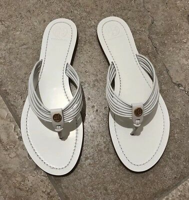 a3a0f1b217e TORY BURCH  SIENNA  Strappy Thong Sandal White Leather Size 9.5 ...