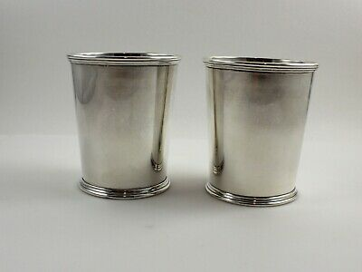 "Kirk 277 Sterling Silver Mint Julep Cups - 3 3/4"" - Set of 2 - No Monogram"