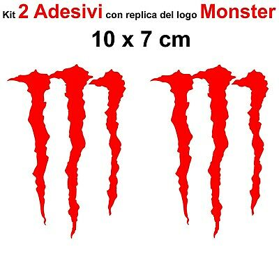 Kit 2 Adesivi Monster Graffio Moto Stickers Adesivo 7 x 10 cm decalcomania ROSSO