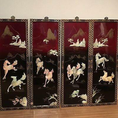 4 Vtg Asian Mother of Pearl Black Lacquer Wall Panels Chinese Horses in Motion