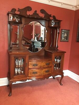 Antique Carved Chiffonier Dresser Sideboard Mirrored Back Glass China Cabinet